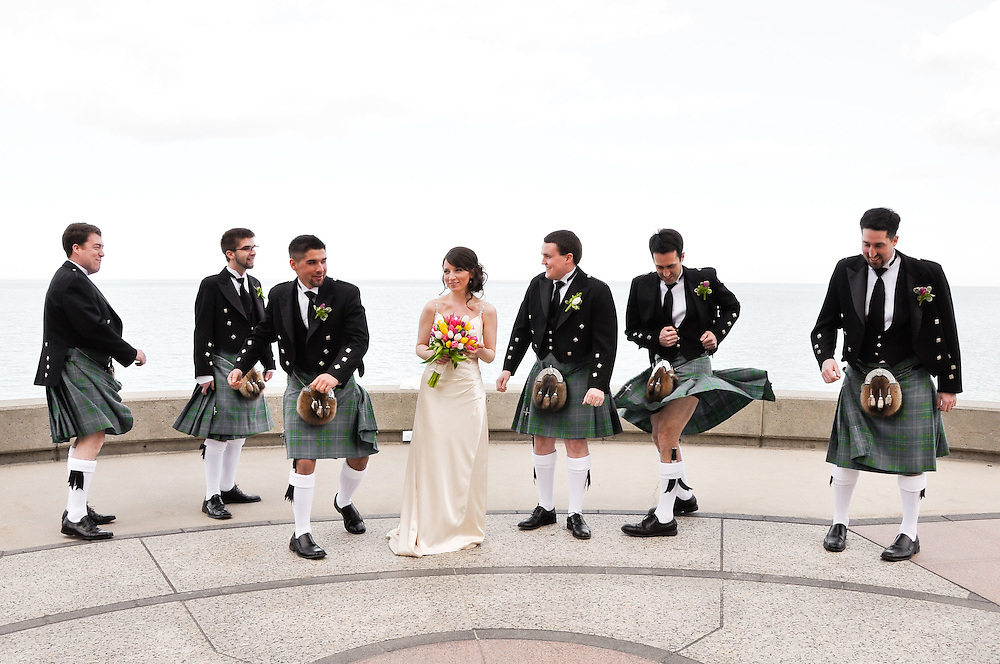 Brendan and his groomsmen give their kilts a twirl for Kathleen, Loyola University Chicago