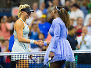 Carina Witthoeft of Germany and Serena Williams of the United States at the net after their second round match at the 2018 US Open Grand Slam tennis tournament, at Billie Jean King National Tennis Center in Flushing Meadow, New York, USA, August 29th 2018, Photo Rob Prange / SpainProSportsImages / DPPI / ProSportsImages / DPPI
