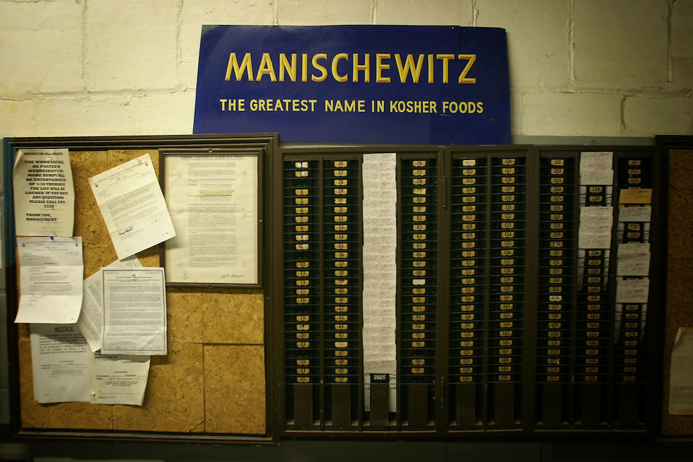 ..Worker shift board in the Manischewitz Plant in Jersey City...Old Manischewitz Matzo Plant in New jersey.....After 80 Years, the Manischewitz Plant in Jersey City Will Close its Doors Indefinitely and all Manufacturing ..will Move to Newark in April ...Thursday march.08.07 ....