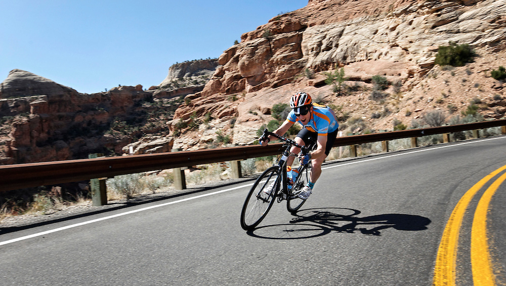 John Humphries of Lizard Head Cycling tours the Colorado National Monument with a group.