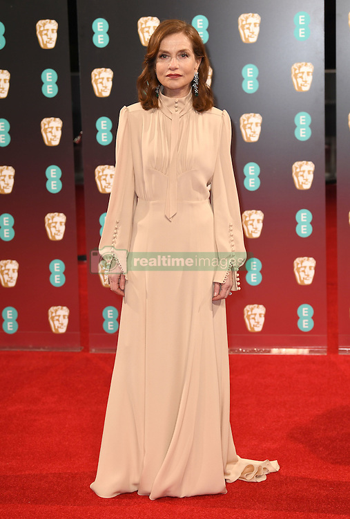 Isabelle Huppert attending the EE British Academy Film Awards held at the Royal Albert Hall, Kensington Gore, Kensington, London. Picture date: Sunday February 12, 2017. Photo credit should read: Doug Peters/ EMPICS Entertainment