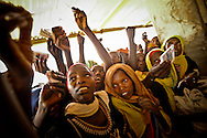 Women wave their ration cards in effort to get a bag of flour during a food distribution in a camp for Darfur refugees near Iriba, in eastern Chad.