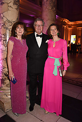 The Earl & Countess Balfour and their daughter Lady Willa Franks at The Sugarplum Dinner 2017 to benefit the type 1 diabetes charity JDRF held at the Victoria & Albert Museum, Cromwell Road, London England. 14 November 2017.<br /> Photo by Dominic O'Neill/SilverHub 0203 174 1069 sales@silverhubmedia.com