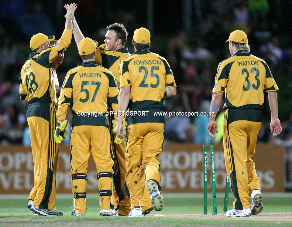 Doug Bollinger celebrates after bowling Neil Broom. New Zealand Black Caps v Australia. 1st ODI, Chappell-Hadlee Trophy Series. McLean Park, Napier. Wednesday 03 March 2010  Photo: John Cowpland/PHOTOSPORT