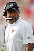 TAMPA, FL - OCTOBER 15:  Head coach Marvin Lewis of the Cincinnati Bengals gives officials a look during the game against the Tampa Bay Buccaneers at Raymond James Stadium on October 15, 2006 in Tampa, Florida. The Bucs defeated the Bengals 14-13. (©Paul Anthony Spinelli) *** Local Caption *** Marvin Lewis