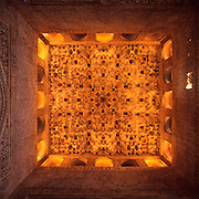 SPAIN, GRANADA Alhambra Palace; stuccoed stalactite ceiling in Sala de las Dos Hermanas room in private quarters of palace