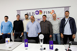 Player Petar Bozic of Partizan, Vlada Jovanovic, coach of KK Partizan, Dragisa Drobnjak of Krka, Aleksandar Dzikic of Krka, Roman Lisac, Jure Zdovc of Union Olimpija and Goran Jagodnik of Union Olimpija during press conference of NLB Basketball League one day before NLB Final Four Tournament 2011, on April 18, 2011 in Arena Stozice, Ljubljana, Slovenia.  (Photo By Vid Ponikvar / Sportida.com)