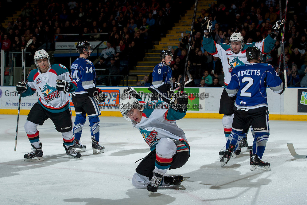 KELOWNA, CANADA -FEBRUARY 8: Tyson Baillie #24 of the Kelowna Rockets celebrates a goal against the Victoria Royals on February 8, 2014 at Prospera Place in Kelowna, British Columbia, Canada.   (Photo by Marissa Baecker/Getty Images)  *** Local Caption *** Tyson Baillie;