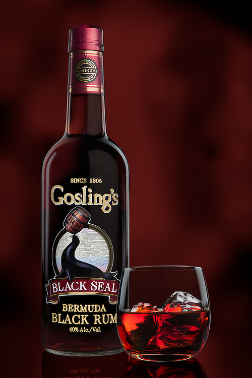Beverage photography of Gosling's Bermuda Black Rum.