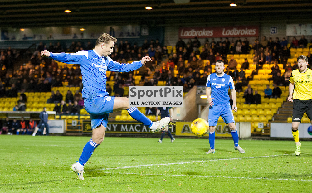 Livingston v Queen of the South, Scottish Championship, 2 January 2016, Iain Russell (Queen of the South, 11) puts a cross during the Livingston v Queen of the South Scottish Championship match played at the Toni Macaroni Arena, © Chris Johnston | SportPix.org.uk