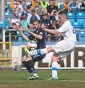 Mark Russell clears from Martin Boyle - Greenock Morton v Dundee, SPFL Championship at Cappielow<br /> <br />  - &copy; David Young - www.davidyoungphoto.co.uk - email: davidyoungphoto@gmail.com