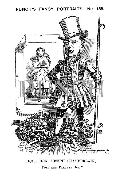 "Punch's Fancy Portraits. - No. 158. Right Hon. Joseph Chamberlain. ""Poll and Partner Joe"""
