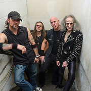 WASHINGTON, DC - October 3rd, 2015 - Pete Campbell, Victor Griffin, Greg Turley and Bobby Liebling of Pentagram pose for a portrait before the band's show at the Rock N Roll Hotel in Washington, D.C. (Photo by Kyle Gustafson / For The Washington Post)
