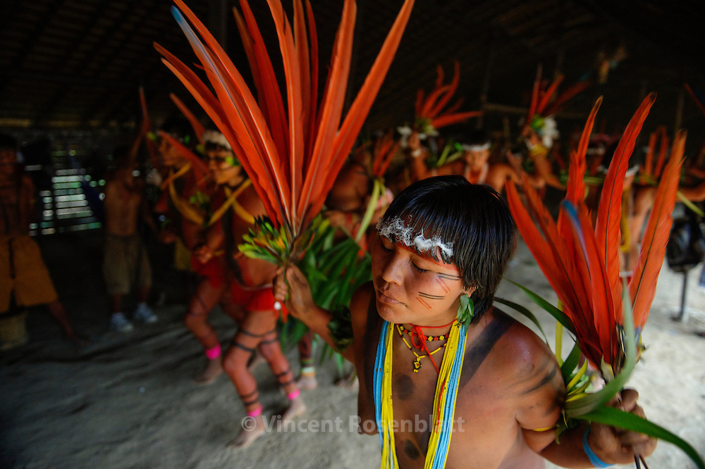 Welcoming party. With feathers of Arara (perrots)  girls dance to present themselves to the village and guests.