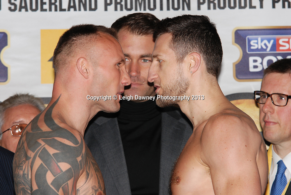 Carl Froch & Mikkel Kessler at the Public Weigh In at London Piazza, 02 Arena, London, United Kingdom. 24.05.13. Credit © Leigh Dawney Photography 2013.