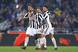 May 9, 2018 - Rome, Italy - Andrea Barzagli, Mehdi Benatia, Blaise Matuidi and Miralem Panic of Juventus celebrate at Olimpico Stadium in Rome, Italy on May 9, 2017  during the TIM Cup Final between Juventus and AC Milan  (Credit Image: © Matteo Ciambelli/NurPhoto via ZUMA Press)