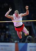Mar 5, 2017; Belgrade, Serbia; Piotr Lisek (POL) wins the pole vault at 19-2¼ (5.85m) during the 34th European Indoor Championships at Kombank Arena. (Jiro Mochizuki/Image of Sport)