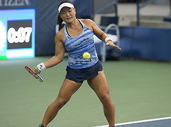 August 22, 2017 - New York, New York, United States - Grace Min of USA returns ball during qualifying game against Katarzyna Piter of Poland at US Open 2017 (Credit Image: © Lev Radin/Pacific Press via ZUMA Wire)