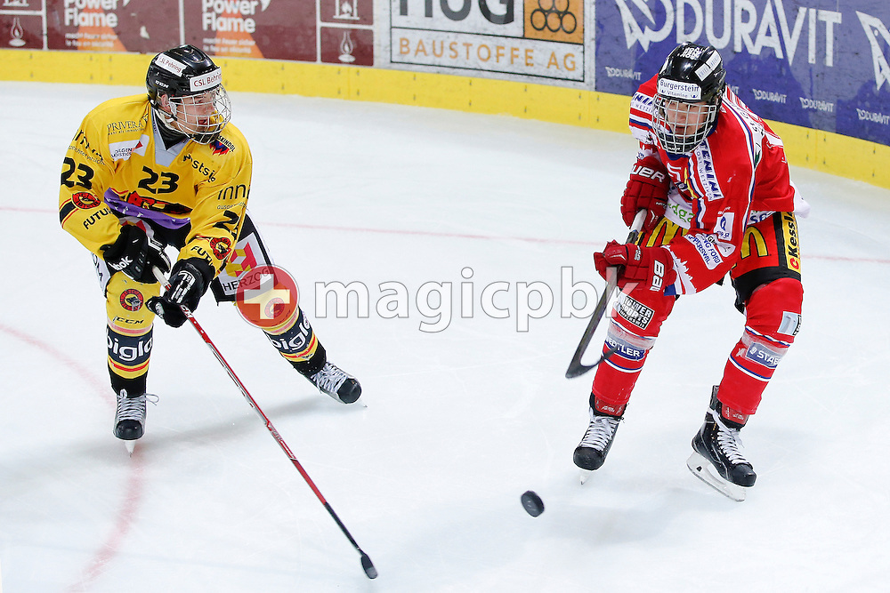 Rapperswil-Jona Lakers forward Petr CAJKA (R) is pictured during a Novizen Elite ice hockey game between Rapperswil-Jona Lakers and SC Bern Future held at the Diners Club Arena in Rapperswil, Switzerland, Saturday, Feb. 6, 2016. (Photo by Patrick B. Kraemer / MAGICPBK)