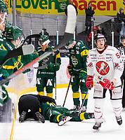 2019-11-11 | Umeå, Sweden:Vita Hästen (58) Simon Krekula gets matchpenalty after a tackel to Björklöven (29) Alexander Wiklund in  HockeyAllsvenskan during the game  between Björklöven and Vita Hästen at A3 Arena ( Photo by: Michael Lundström | Swe Press Photo )<br /> <br /> Keywords: Umeå, Hockey, HockeyAllsvenskan, A3 Arena, Björklöven, Vita Hästen, mlbv191111