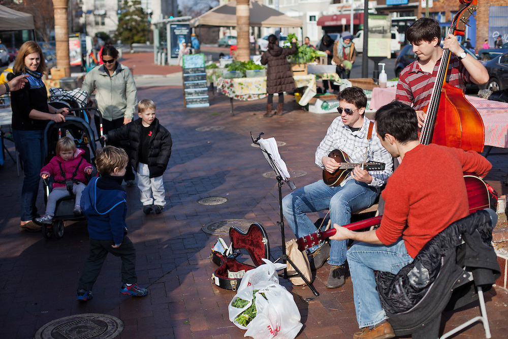 Children dance to live music at the Mount Pleasant Farmers' Market. The Mount Pleasant Farmers' Market is producer-only, meaning two things. First, everything offered was raised, grown, produced, made, or baked by the person selling it. Second, the food is local and regional. Its region includes the five states whose farmland and waterways serve the Washington, DC metro region.