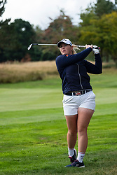 Gleneagles, Scotland, UK; 8 August, 2018.  European Championships 2018. Day one of golf competition at Gleneagles..Men's and Women's Team Championships Round Robin Group Stage - 1st Round. Four Ball Match Play format. Match 13 Great Britain 2 v Sweden 1 Ladies. Catriona Matthew and Holly Clyburn won 3 and 2. Pictured; Holly Clyburn plays approach shot
