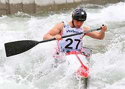 27.06.2015, Verbund Wasserarena, Wien, AUT, ICF, Kanu Wildwasser Weltmeisterschaft 2015, C1 men, im Bild Vladimir Slanina (CZE) // during the final run in the men's C1 class of the ICF Wildwater Canoeing Sprint World Championships at the Verbund Wasserarena in Wien, Austria on 2015/06/27. EXPA Pictures © 2014, PhotoCredit: EXPA/ Sebastian Pucher