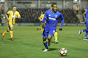 AFC Wimbledon striker Dominic Poleon (10) dribbling during the The FA Cup third round replay match between AFC Wimbledon and Sutton United at the Cherry Red Records Stadium, Kingston, England on 17 January 2017. Photo by Matthew Redman.