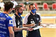 Gianmarco Pozzecco, Giorgio Gerosa<br /> Banco di Sardegna Dinamo Sassari - Happycasa Brindisi<br /> LBA Legabasket Supercoppa Gir.D 2020/2021<br /> Olbia, 07/09/2020<br /> Foto L.Canu / Ciamillo-Castoria