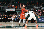 January 30, 2019: Justin Robinson #5 of Virginia Tech in action during the NCAA basketball game between the Miami Hurricanes and the Virginia Tech Hokies in Coral Gables, Florida. The Hokies defeated the 'Canes 82-70.