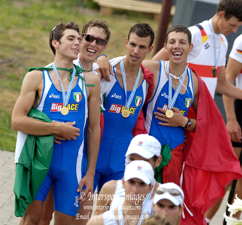 2006, U23 Rowing Championships,Hazewinkel, BELGIUM Sunday, ITA BLM4-, sing the Italian National Anthem after wiinning gold in the final. 23.07.2006. Photo  Peter Spurrier/Intersport Images email images@intersport-images.com..[Mandatory Credit Peter Spurrier/ Intersport Images] Rowing Course, Bloso, Hazewinkel. BELGUIM