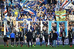 """Foto LaPresse/Filippo Rubin<br /> 03/03/2019 Ferrara (Italia)<br /> Sport Calcio<br /> Spal - Sampdoria - Campionato di calcio Serie A 2018/2019 - Stadio """"Paolo Mazza""""<br /> Nella foto: LA SAMPDORIA ESULTA SOTTO I PROPRI TIFOSI<br /> <br /> Photo LaPresse/Filippo Rubin<br /> March 03, 2019 Ferrara (Italy)<br /> Sport Soccer<br /> Spal vs Sampdoria - Italian Football Championship League A 2018/2019 - """"Paolo Mazza"""" Stadium <br /> In the pic: SAMPDORIA CELEBRATE"""