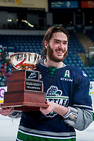 KELOWNA, CANADA - APRIL 30: Turner Ottenbreit #4 of the Seattle Thunderbirds holds the Western Conference Cup on April 30, 2017 at Prospera Place in Kelowna, British Columbia, Canada.  (Photo by Marissa Baecker/Shoot the Breeze)  *** Local Caption ***