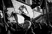 People protest against the decision of the municipal administration to arrange for the eviction of the building in Via Napoleone illegally occupied by the far-right political movement Casapound. Rome 8 February 2019. Christian Mantuano / OneShot