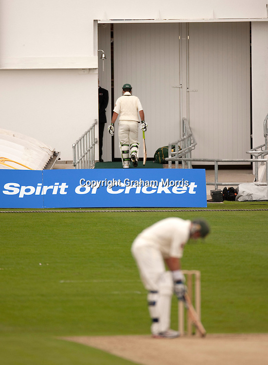 Ricky Ponting walks off out lbw for six in the second MCC Spirit of Cricket Test Match between Pakistan and Australia at Headingley, Leeds.  Photo: Graham Morris (Tel: +44(0)20 8969 4192 Email: sales@cricketpix.com) 21/07/10