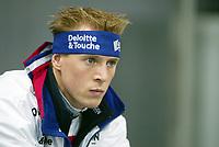 Skøyter, 9-10. november 2002. Verdenscupåpning, Vikingskipet, Jochem Uytdehaage, Nederland.