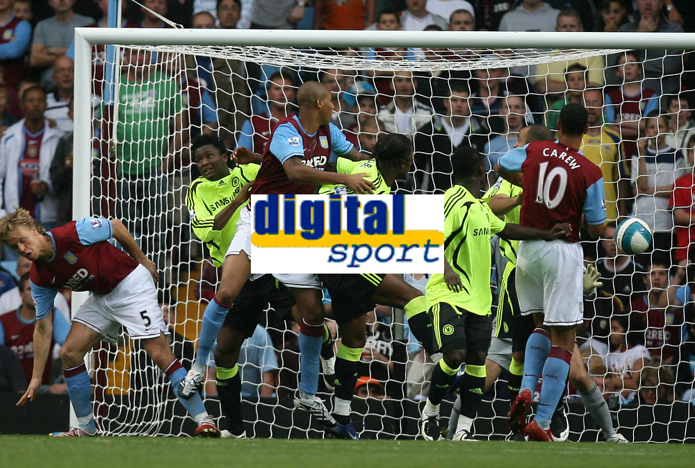 Photo: Rich Eaton.<br /> <br /> Aston Villa v Chelsea. The FA Barclays Premiership. 02/09/2007. Aston Villa's Zak Knight leaps highest and scores on his Villa Park debut to give Villa a 1-0 lead.