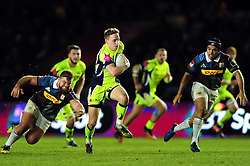 Mike Haley of Sale Sharks goes on the attack - Mandatory byline: Patrick Khachfe/JMP - 07966 386802 - 03/02/2017 - RUGBY UNION - The Twickenham Stoop - London, England - Harlequins v Sale Sharks - Anglo-Welsh Cup.