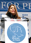 Muna Rihani Al-Nasser speaks during the March To End Violence Against Women at the United Nations Headquarters in New York City, New York on March 07, 2014.