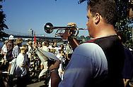 DEU, Germany, Cologne, trumpeter at the Chorpus Christi procession in the town district Muelheim.....DEU, Deutschland, Koeln, Trompeter bei der Fronleichnamsprozession im Stadtteil Muelheim....... ..