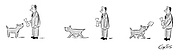 (A man gives his dog a bone, but the dog goes away and returns with a shovel)