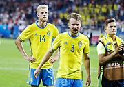 LUBLIN, POLEN 2017-06-19<br /> Filip Dagerst&aring;l och Jacob Une-Larsson deppar under UEFA U21 matchen mellan Polen och Sverige den 19 juni p&aring; Arena Lublin, Polen.<br /> Foto: Nils Petter Nilsson/Ombrello<br /> Fri anv&auml;ndning f&ouml;r kunder som k&ouml;pt U21-paketet.<br /> Annars Betalbild.<br /> ***BETALBILD***