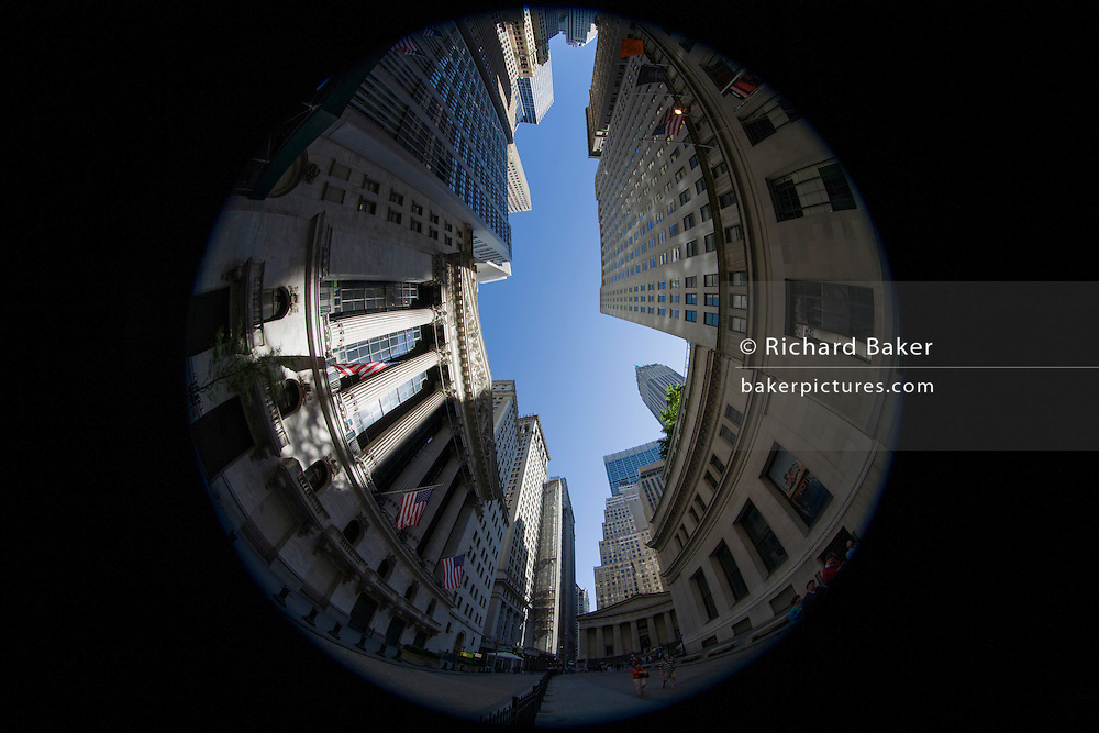 180 degree distorted fish-eye lens view of the New York Stock Exchange (NYSE) on Wall Street, Lower Manhattan,.