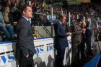 KELOWNA, CANADA - JANUARY 28: Associate coach, Kyle Gustafson, head coach, Mike Johnston, assistant coach, Oliver David, athletic therapist Rich Campbell and equipment manager Mark Brennan of the Portland Winterhawks stand on the bench against the Kelowna Rockets on January 28, 2017 at Prospera Place in Kelowna, British Columbia, Canada.  (Photo by Marissa Baecker/Shoot the Breeze)  *** Local Caption ***