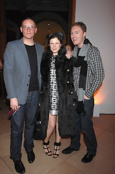 Left to right, GILES DEACON, KATIE GRAND and STUART VEVERS Design Director at Mulberry at the opening party for 'Face of Fashion' an exhibition of photographs by five of the World's leading fashion photographers held at the National Portrait Gallery, St.Martin's Lane, London on 12th February 2007.<br />