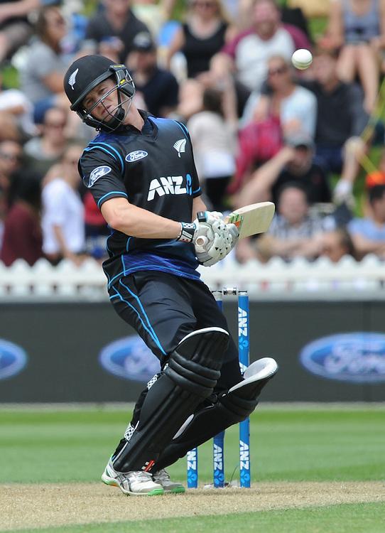 New Zealand's Henry Nichols ducks a bouncer against Pakistan in the 1st ODI International Cricket match at Basin Reserve, Wellington, New Zealand, Monday, January 25, 2016. Credit:SNPA / Ross Setford