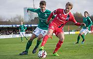 Andreas Horsebøg (Avarta) og Carl Lange (FC Helsingør) under kampen i 2. Division mellem Boldklubben Avarta og FC Helsingør den 10. november 2019 i Espelunden (Foto: Claus Birch).