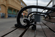 A park bench on the famous Atlantic City Boardwalk.