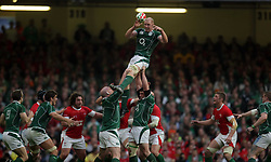 Paul O'Connell takes the lineout ball for Ireland.RBS 6 Nations 2009. Wales v Ireland. Millennium Stadium. 21.03.09