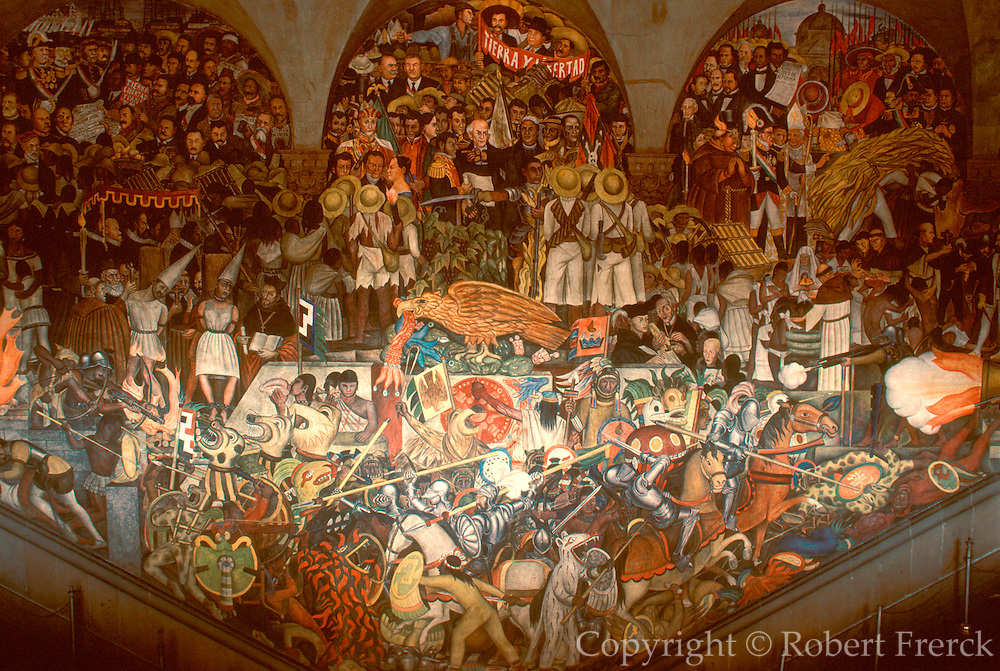 MEXICO, MEXICO CITY, MURAL Rivera mural, 'History of Mexico'